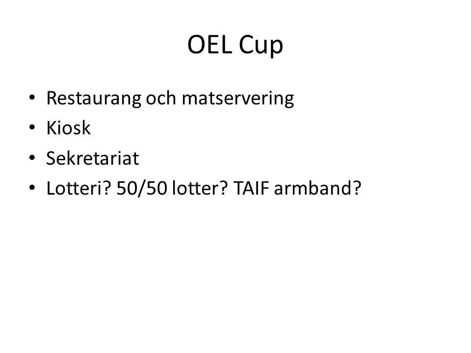 OEL Cup Restaurang och matservering Kiosk Sekretariat Lotteri? 50/50 lotter? TAIF armband?