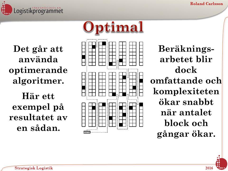 Roland Carlsson Strategisk Logistik 2016 Roland Carlsson Det går att använda optimerande algoritmer.
