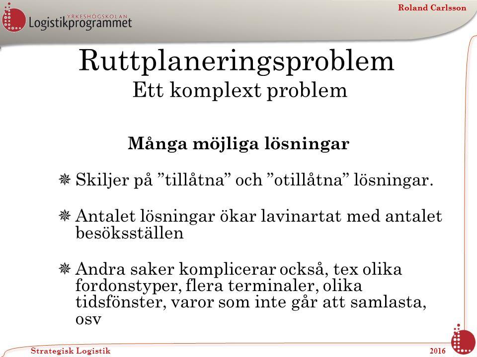 Roland Carlsson Strategisk Logistik 2016 Roland Carlsson Ruttplaneringsproblem Ett komplext problem Många möjliga lösningar  Skiljer på tillåtna och otillåtna lösningar.
