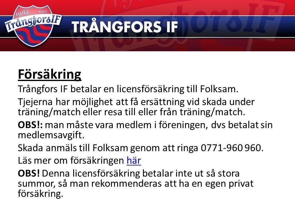 Försäkring Trångfors IF betalar en licensförsäkring till Folksam. Tjejerna har möjlighet att få ersättning vid skada under träning/match eller resa ti