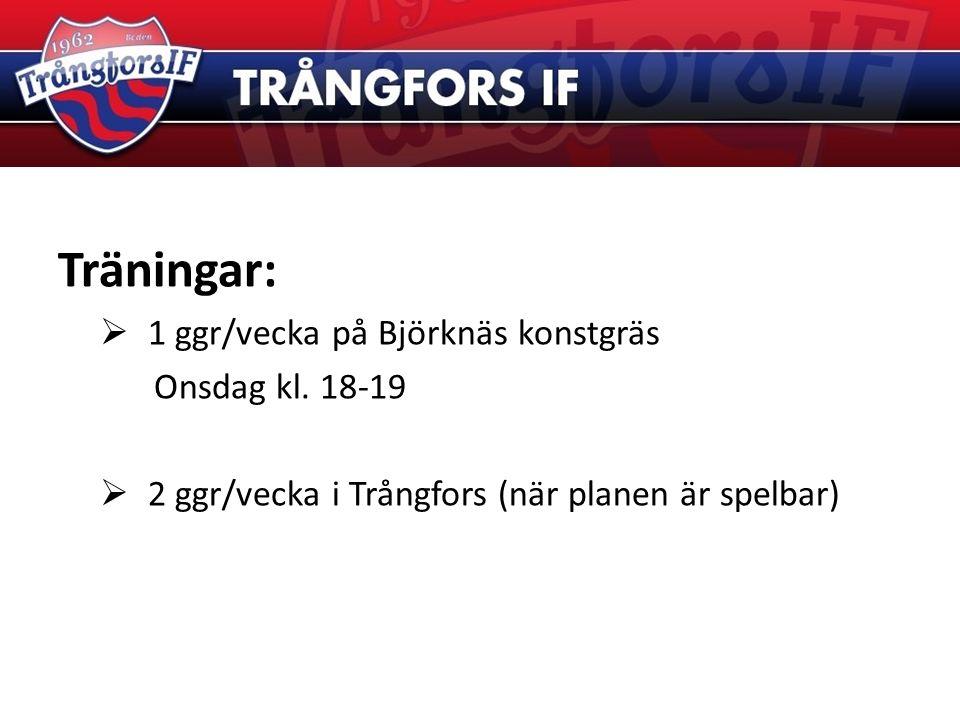 Träningar:  1 ggr/vecka på Björknäs konstgräs Onsdag kl. 18-19  2 ggr/vecka i Trångfors (när planen är spelbar)