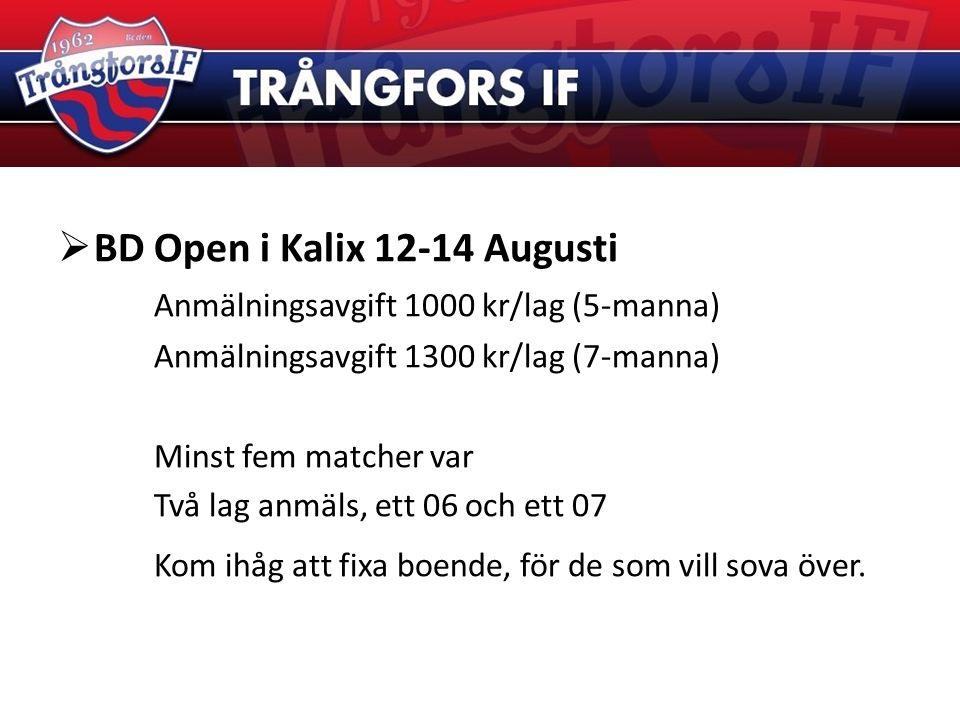  BD Open i Kalix 12-14 Augusti Anmälningsavgift 1000 kr/lag (5-manna) Anmälningsavgift 1300 kr/lag (7-manna) Minst fem matcher var Två lag anmäls, ett 06 och ett 07 Kom ihåg att fixa boende, för de som vill sova över.