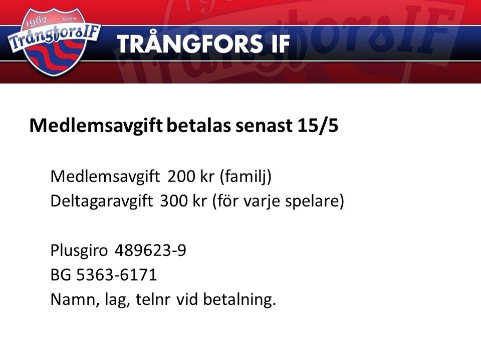 Medlemsavgift betalas senast 15/5 Medlemsavgift 200 kr (familj) Deltagaravgift 300 kr (för varje spelare) Plusgiro 489623-9 BG 5363-6171 Namn, lag, telnr vid betalning.