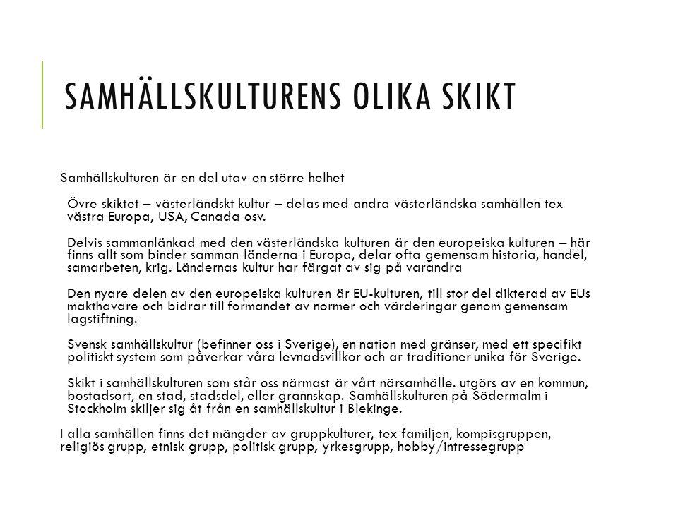 Västerländsk samhällskultur Europeisk samhällskultur EU-samhällskultur Svensk samhällskultur Närsamhällets kultur DU
