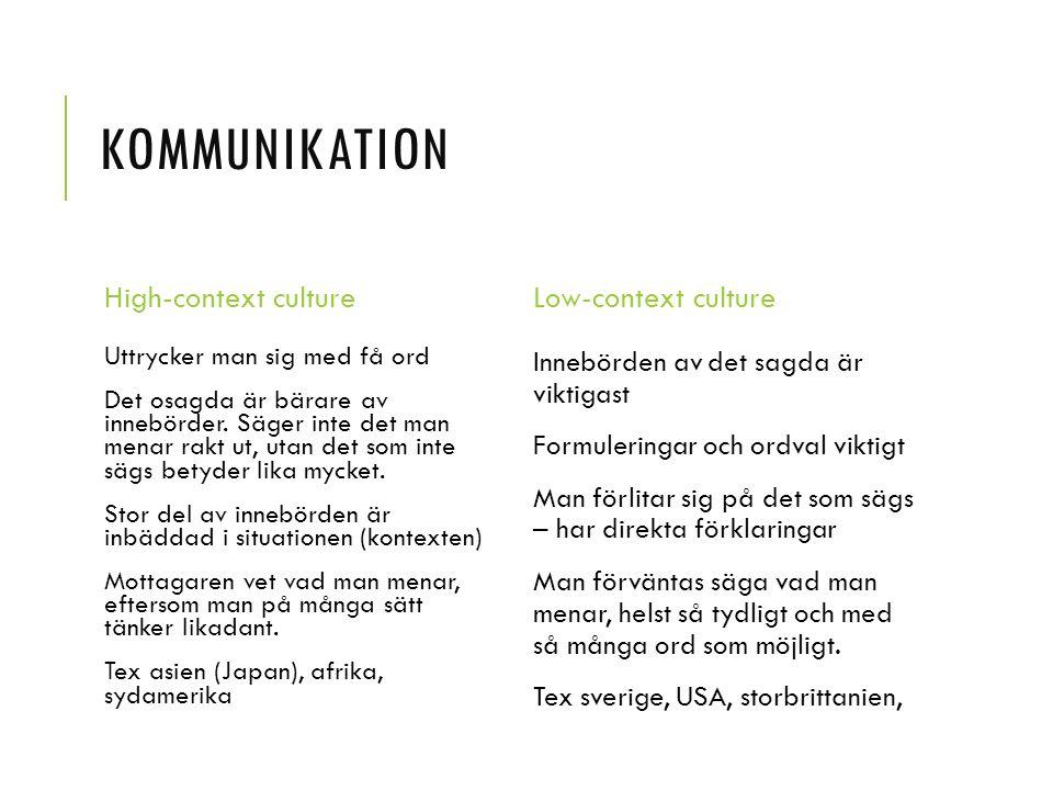 KOMMUNIKATION High-context culture Uttrycker man sig med få ord Det osagda är bärare av innebörder.