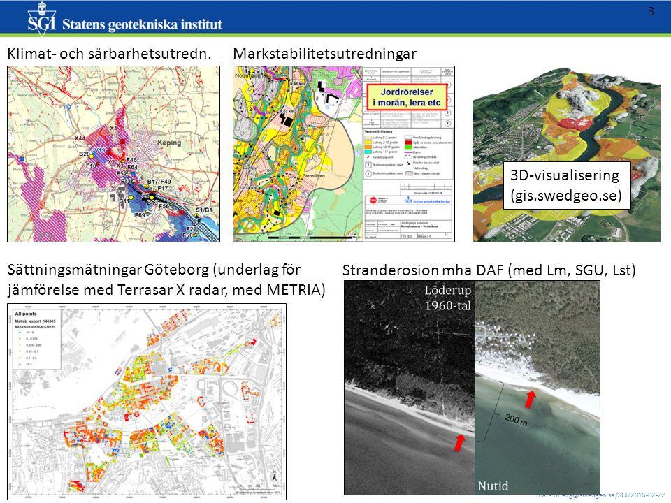 mats.oberg@swedgeo.se/SGI/2016-02-22 3 3D-visualisering (gis.swedgeo.se) Klimat- och sårbarhetsutredn. (gis.swegeo.se/nks) Markstabilitetsutredningar