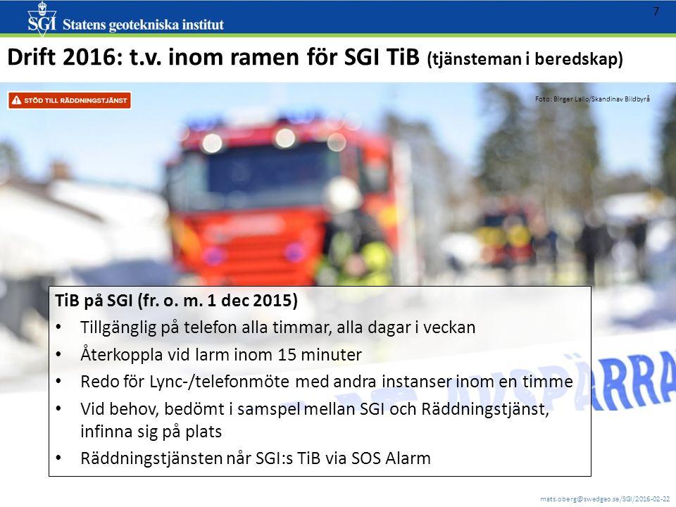 mats.oberg@swedgeo.se/SGI/2016-02-22 7 Drift 2016: t.v. inom ramen för SGI TiB (tjänsteman i beredskap) TiB på SGI (fr. o. m. 1 dec 2015) Tillgänglig