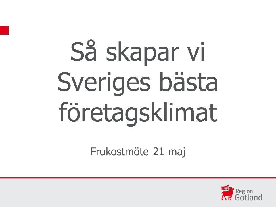 Så skapar vi Sveriges bästa företagsklimat Frukostmöte 21 maj