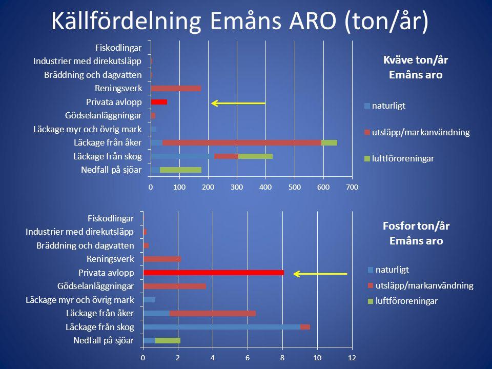 Källfördelning Emåns ARO (ton/år)