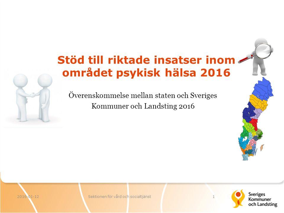 Stöd till riktade insatser inom området psykisk hälsa 2016 2016-01-12Sektionen för vård och socialtjänst1 Överenskommelse mellan staten och Sveriges Kommuner och Landsting 2016
