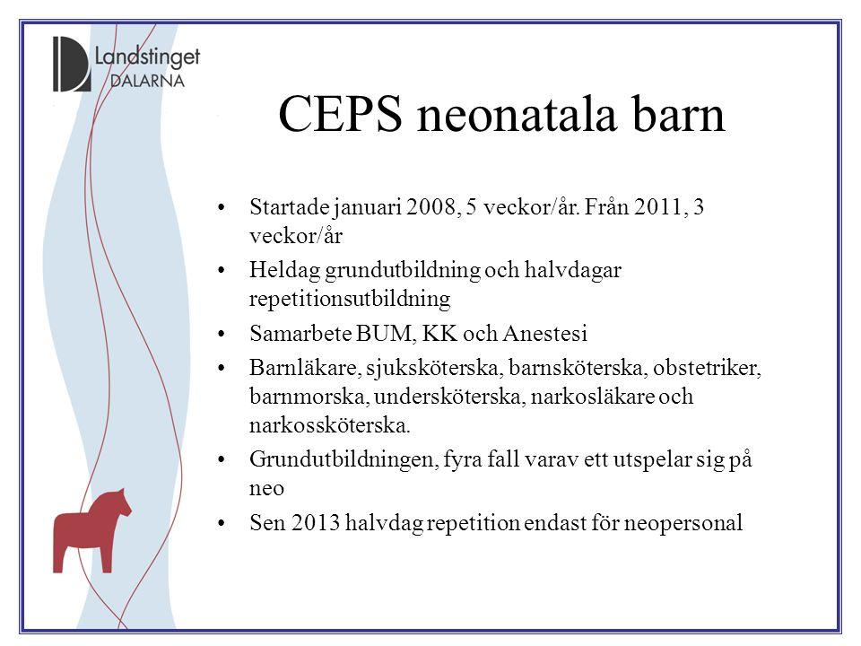 CEPS neonatala barn Startade januari 2008, 5 veckor/år. Från 2011, 3 veckor/år Heldag grundutbildning och halvdagar repetitionsutbildning Samarbete BU