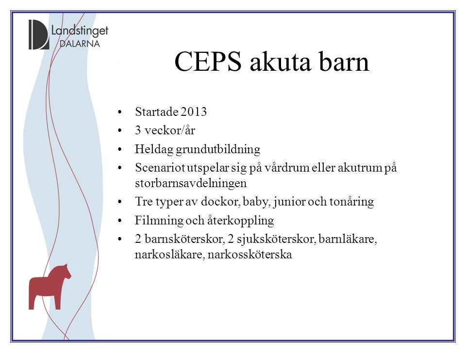 CEPS akuta barn Startade 2013 3 veckor/år Heldag grundutbildning Scenariot utspelar sig på vårdrum eller akutrum på storbarnsavdelningen Tre typer av