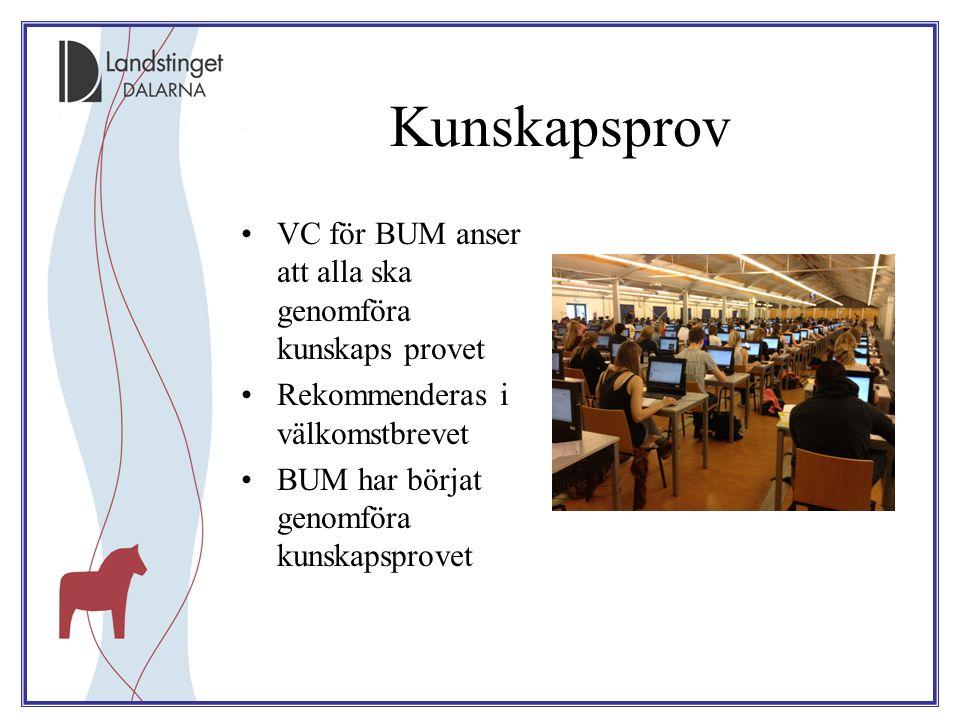 Kunskapsprov VC för BUM anser att alla ska genomföra kunskaps provet Rekommenderas i välkomstbrevet BUM har börjat genomföra kunskapsprovet