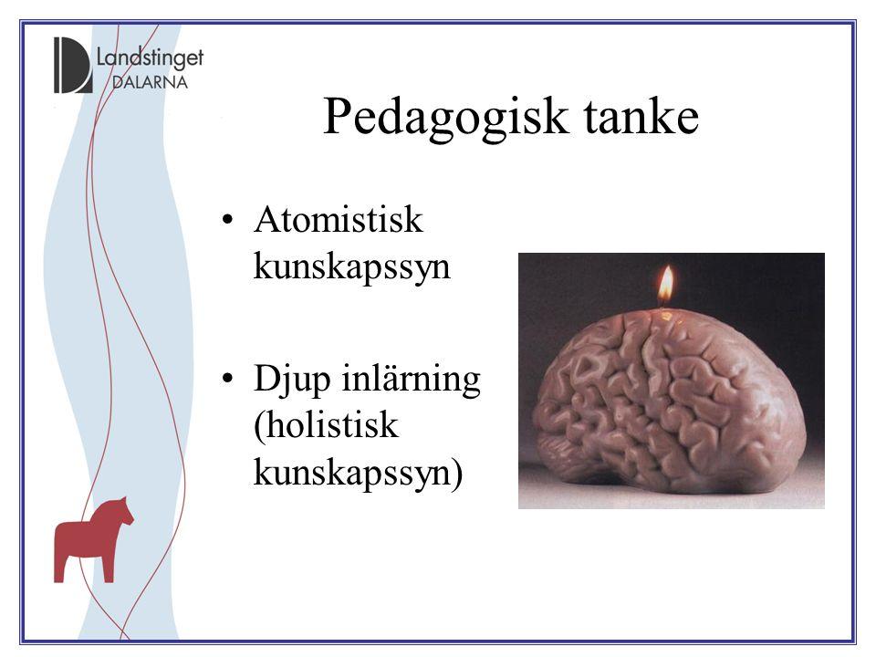 Pedagogisk tanke Atomistisk kunskapssyn Djup inlärning (holistisk kunskapssyn)