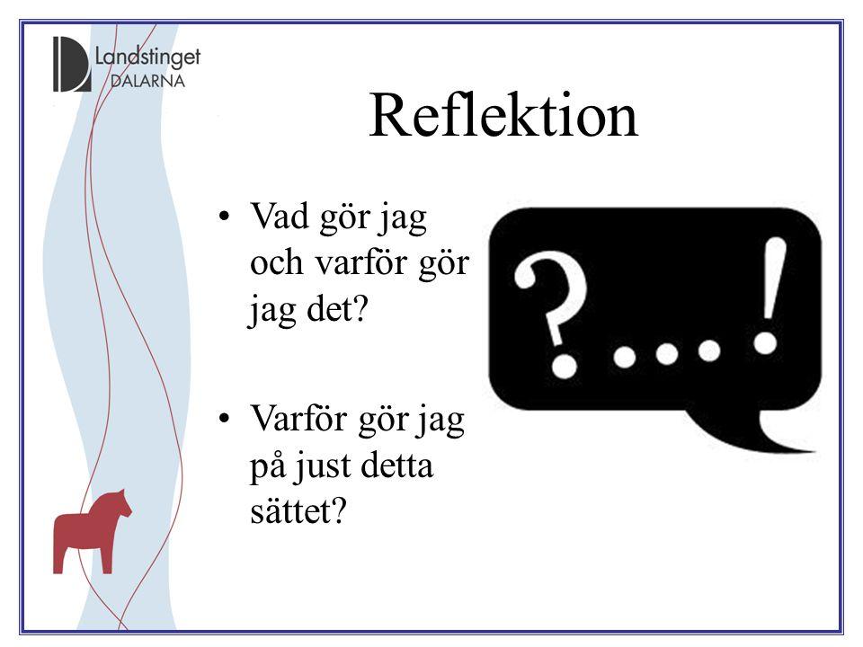 Reflektion Vad gör jag och varför gör jag det? Varför gör jag på just detta sättet?