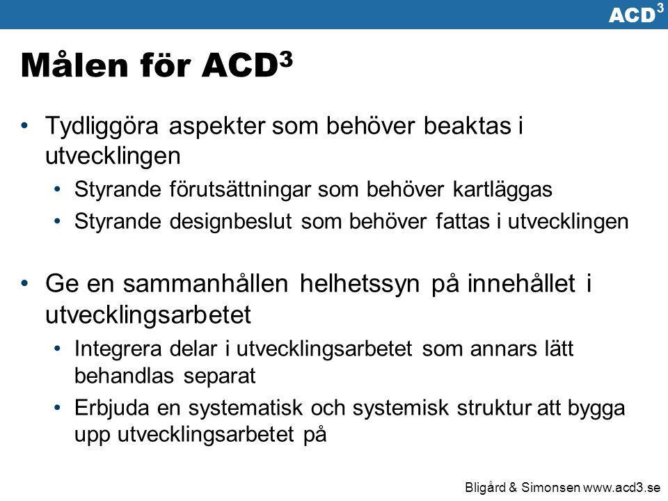ACD 3 Bligård & Simonsen www.acd3.se Utgångspunkter ACD 3 Kombinerar fördelar med vattenfallmodeller med fördelar från Iterativa utvecklingsmodeller Implementerar ett växelverkande förhållande mellan designarbete och kravsättning Förenar designarbete på olika abstraktionsnivåer med designarbete ur olika perspektiv Lyfter fram aktivitetens (användningens) betydelse för utvecklingsarbetet