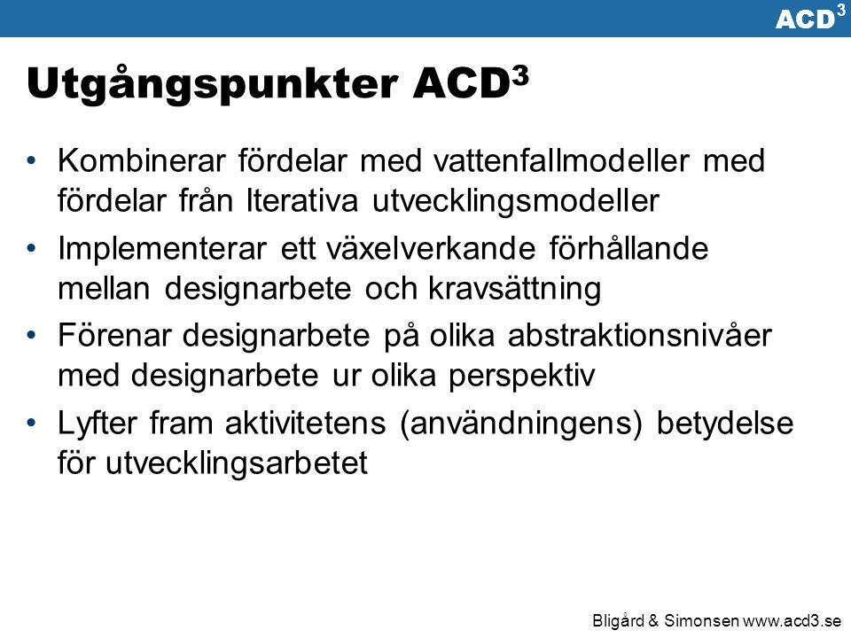 ACD 3 Bligård & Simonsen www.acd3.se Grundläggande idéer ACD 3 -processen Iterativt utvecklingsarbete Aktiviteter upprepas cykliskt Design på olika abstraktionsnivåer En lösning blir successivt mer konkretiserad Design med olika perspektiv Utformning kan ur på många synvinklar