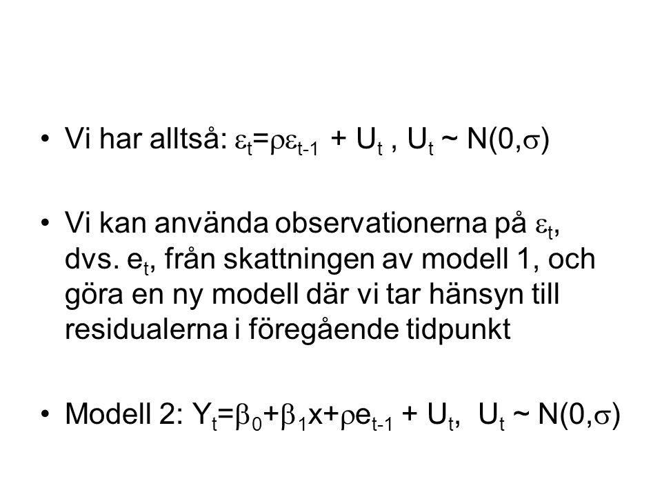 Vi har alltså:  t =  t-1 + U t, U t ~ N(0,  ) Vi kan använda observationerna på  t, dvs.