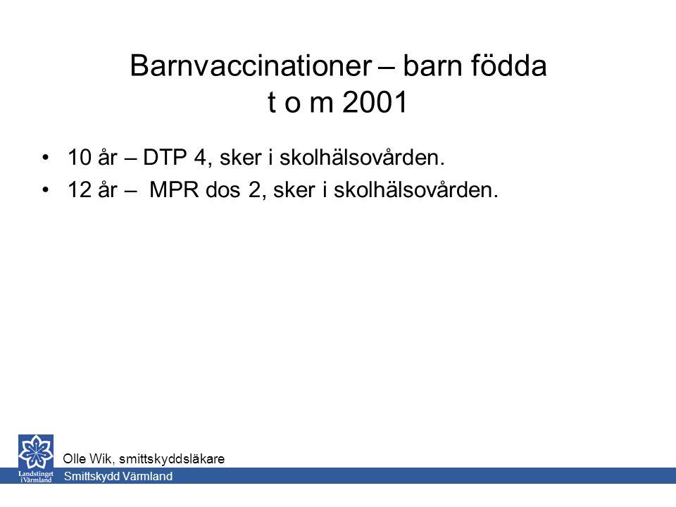 Barnvaccinationer – barn födda t o m 2001 10 år – DTP 4, sker i skolhälsovården.