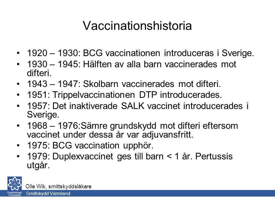 Vaccinationshistoria 1920 – 1930: BCG vaccinationen introduceras i Sverige.