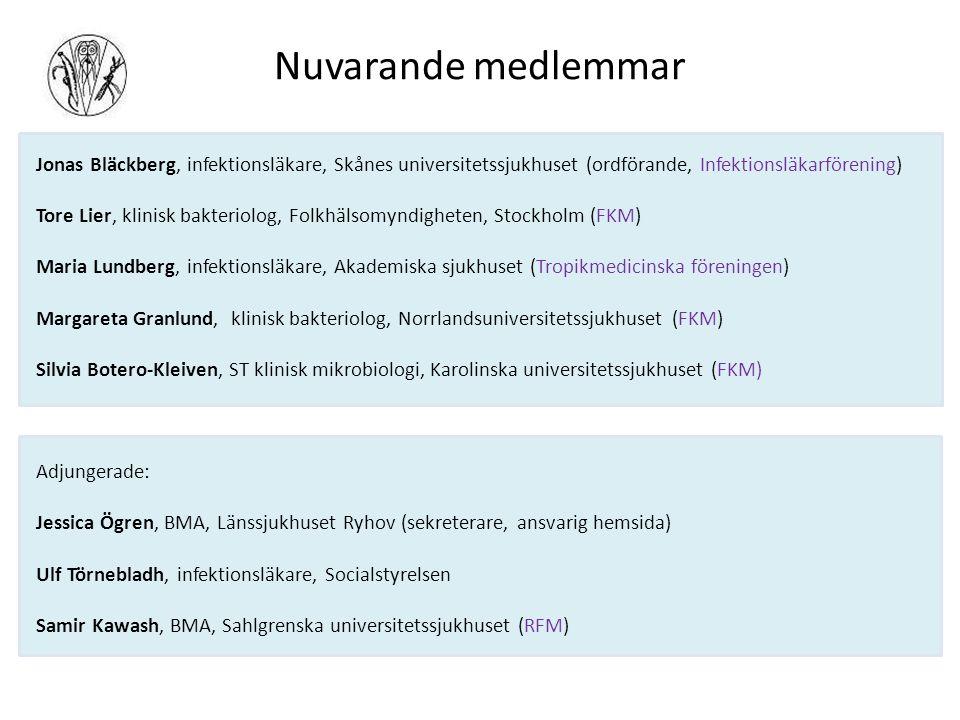 Nuvarande medlemmar Jonas Bläckberg, infektionsläkare, Skånes universitetssjukhuset (ordförande, Infektionsläkarförening) Tore Lier, klinisk bakteriolog, Folkhälsomyndigheten, Stockholm (FKM) Maria Lundberg, infektionsläkare, Akademiska sjukhuset (Tropikmedicinska föreningen) Margareta Granlund, klinisk bakteriolog, Norrlandsuniversitetssjukhuset (FKM) Silvia Botero-Kleiven, ST klinisk mikrobiologi, Karolinska universitetssjukhuset (FKM) Adjungerade: Jessica Ögren, BMA, Länssjukhuset Ryhov (sekreterare, ansvarig hemsida) Ulf Törnebladh, infektionsläkare, Socialstyrelsen Samir Kawash, BMA, Sahlgrenska universitetssjukhuset (RFM)