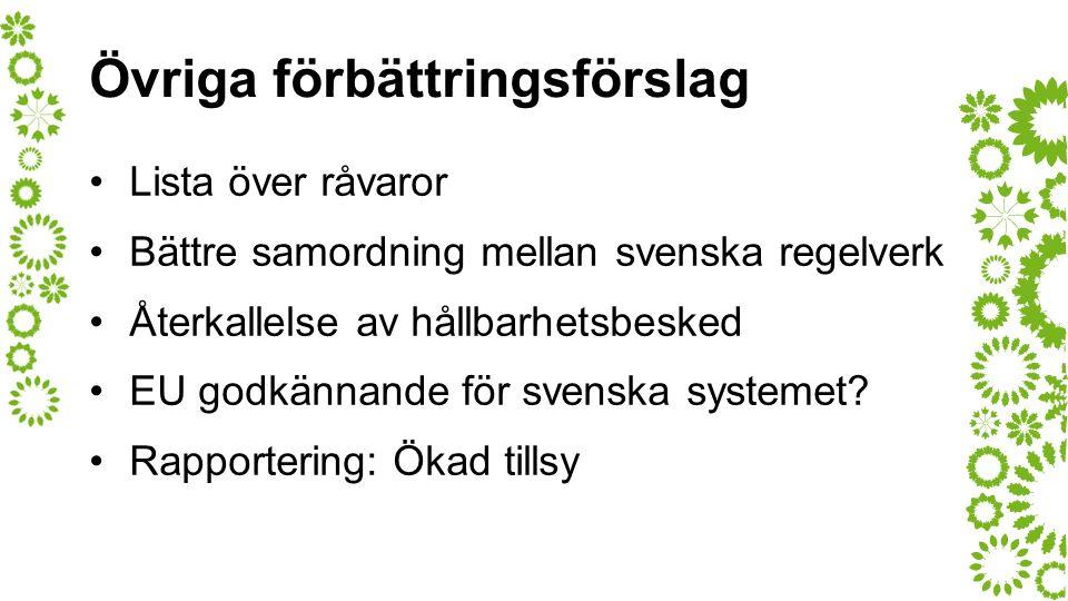 Övriga förbättringsförslag Lista över råvaror Bättre samordning mellan svenska regelverk Återkallelse av hållbarhetsbesked EU godkännande för svenska systemet.