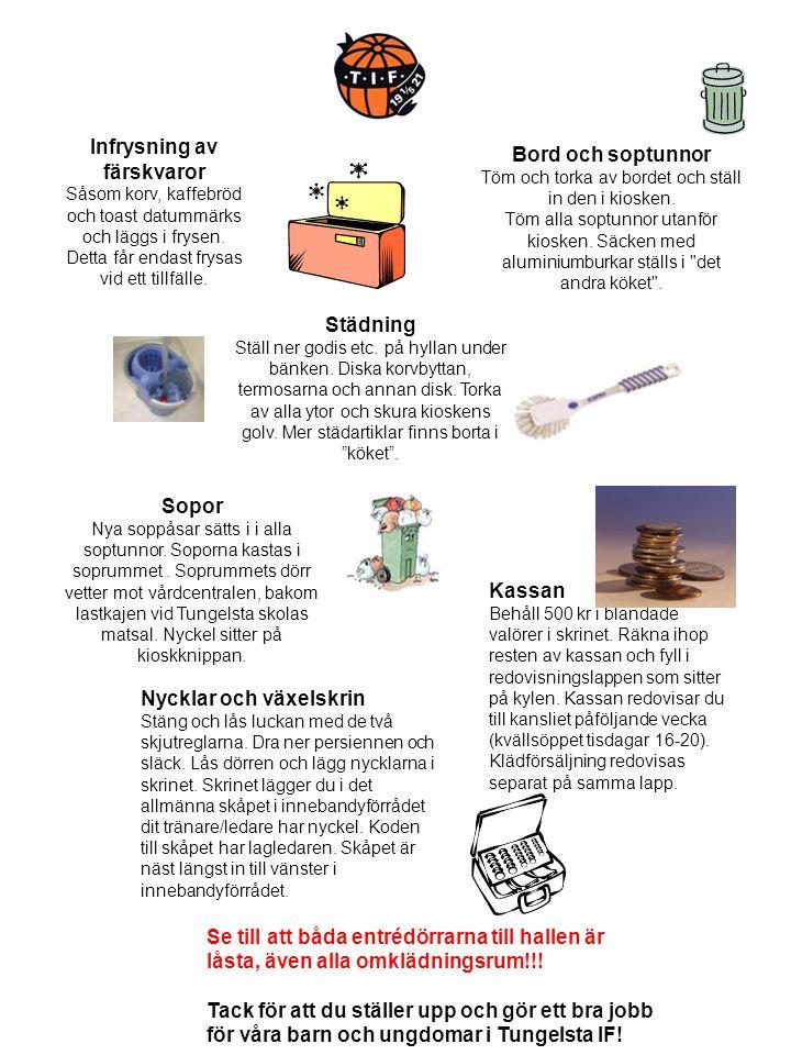 Infrysning av färskvaror Såsom korv, kaffebröd och toast datummärks och läggs i frysen.