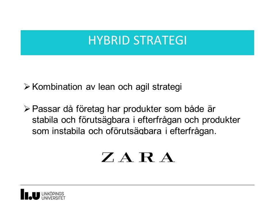 HYBRID STRATEGI  Kombination av lean och agil strategi  Passar då företag har produkter som både är stabila och förutsägbara i efterfrågan och produkter som instabila och oförutsägbara i efterfrågan.