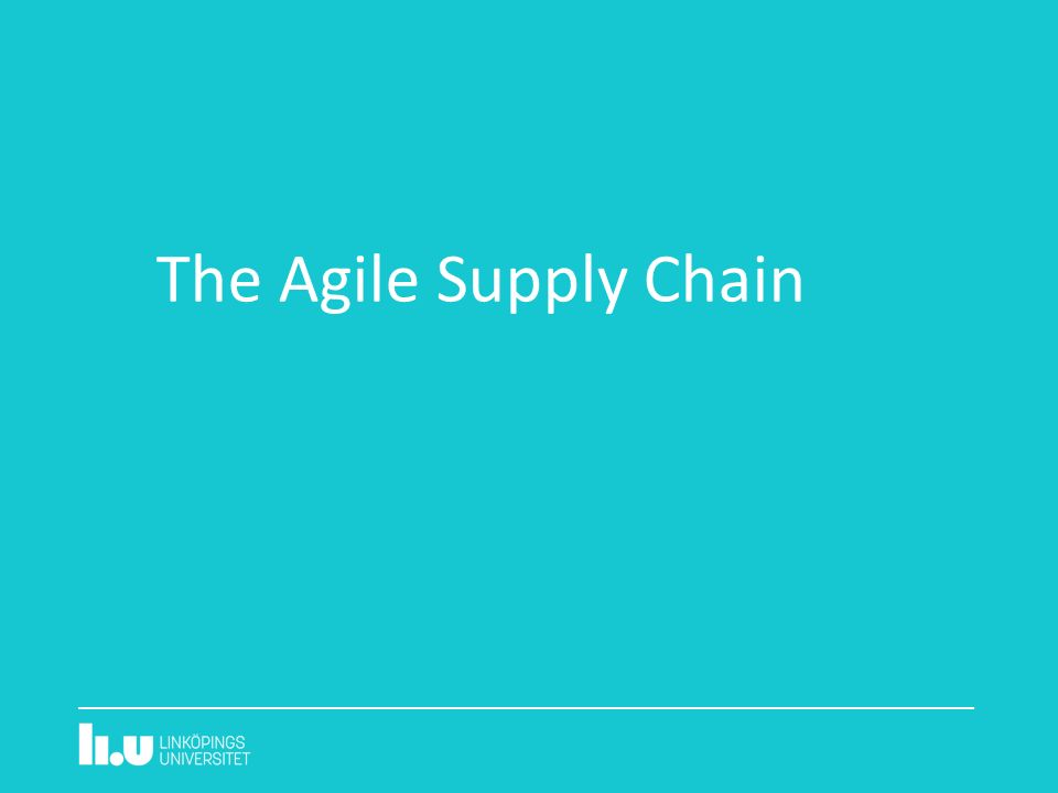 The Agile Supply Chain