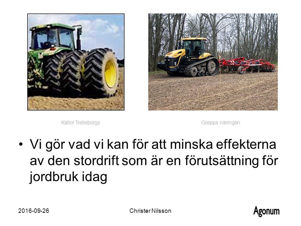 Vi gör vad vi kan för att minska effekterna av den stordrift som är en förutsättning för jordbruk idag 2016-09-26Christer Nilsson Källor Trelleborgs Greppa näringen