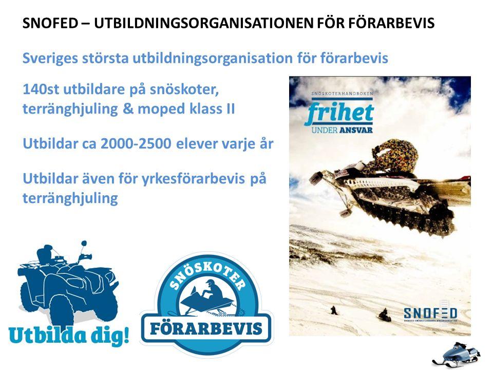 Sveriges största utbildningsorganisation för förarbevis 140st utbildare på snöskoter, terränghjuling & moped klass II SNOFED – UTBILDNINGSORGANISATIONEN FÖR FÖRARBEVIS Utbildar ca 2000-2500 elever varje år Utbildar även för yrkesförarbevis på terränghjuling
