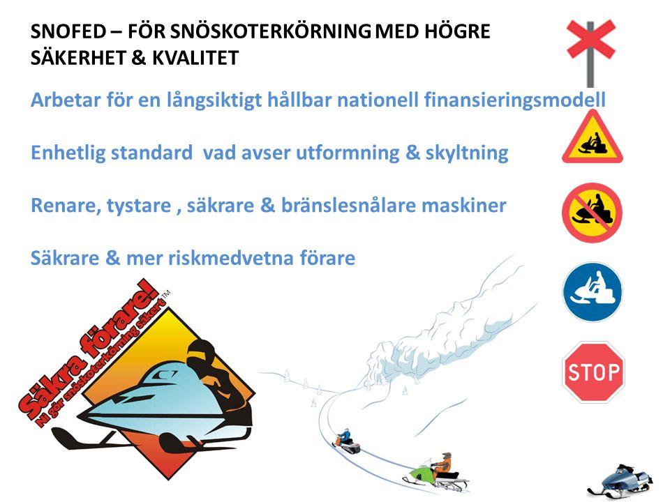 SNOFED – FÖR SNÖSKOTERKÖRNING MED HÖGRE SÄKERHET & KVALITET Arbetar för en långsiktigt hållbar nationell finansieringsmodell Enhetlig standard vad avser utformning & skyltning Renare, tystare, säkrare & bränslesnålare maskiner Säkrare & mer riskmedvetna förare
