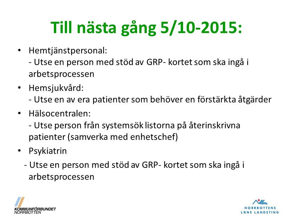 Till nästa gång 5/10-2015: Hemtjänstpersonal: - Utse en person med stöd av GRP- kortet som ska ingå i arbetsprocessen Hemsjukvård: - Utse en av era pa