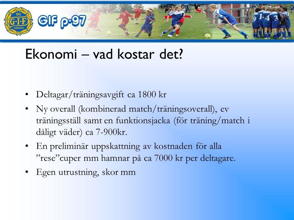 Ekonomi – hur får vi pengar.Vi går in med ca 40.000 kr Egen cup med Kuben 20.000.