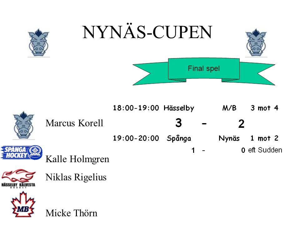Final spel NYNÄS-CUPEN Marcus Korell Kalle Holmgren Niklas Rigelius Micke Thörn