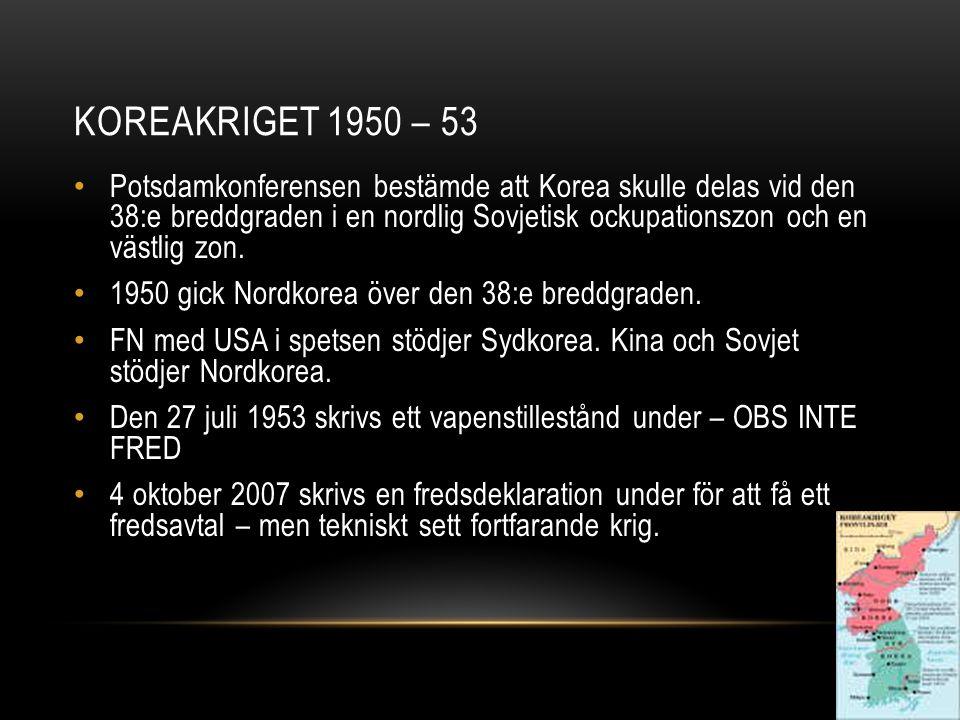KOREAKRIGET 1950 – 53 Potsdamkonferensen bestämde att Korea skulle delas vid den 38:e breddgraden i en nordlig Sovjetisk ockupationszon och en västlig zon.