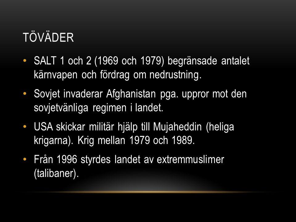 TÖVÄDER SALT 1 och 2 (1969 och 1979) begränsade antalet kärnvapen och fördrag om nedrustning.