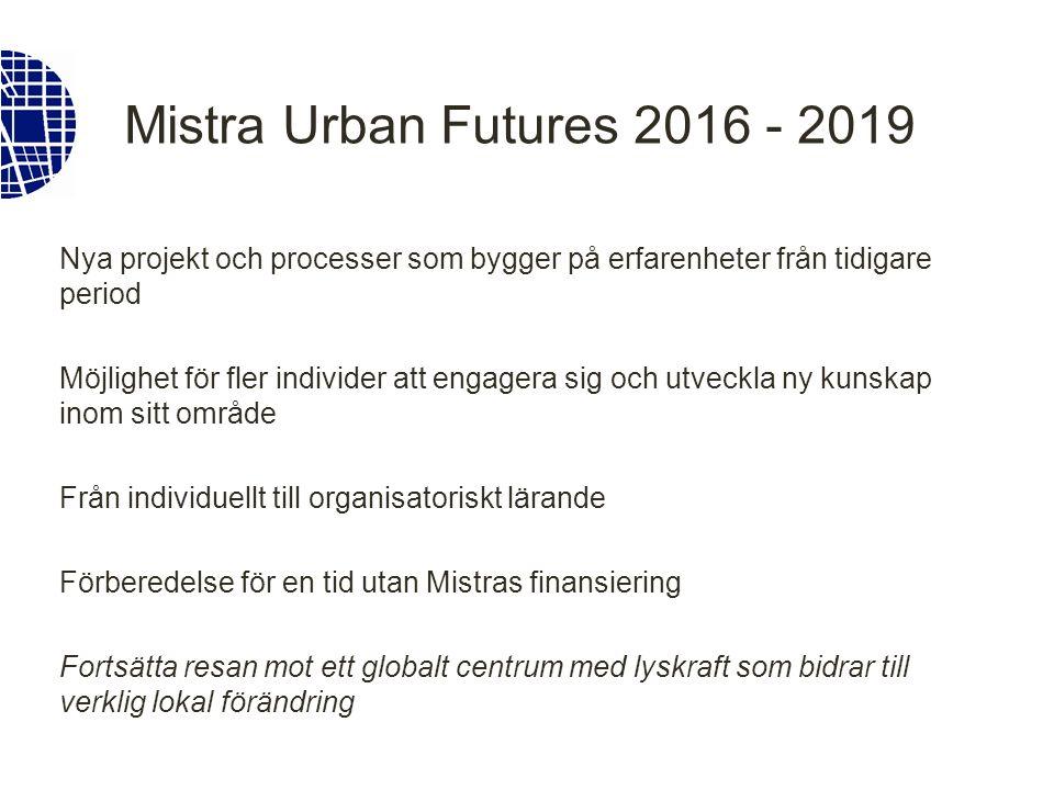 Mistra Urban Futures 2016 - 2019 Nya projekt och processer som bygger på erfarenheter från tidigare period Möjlighet för fler individer att engagera sig och utveckla ny kunskap inom sitt område Från individuellt till organisatoriskt lärande Förberedelse för en tid utan Mistras finansiering Fortsätta resan mot ett globalt centrum med lyskraft som bidrar till verklig lokal förändring