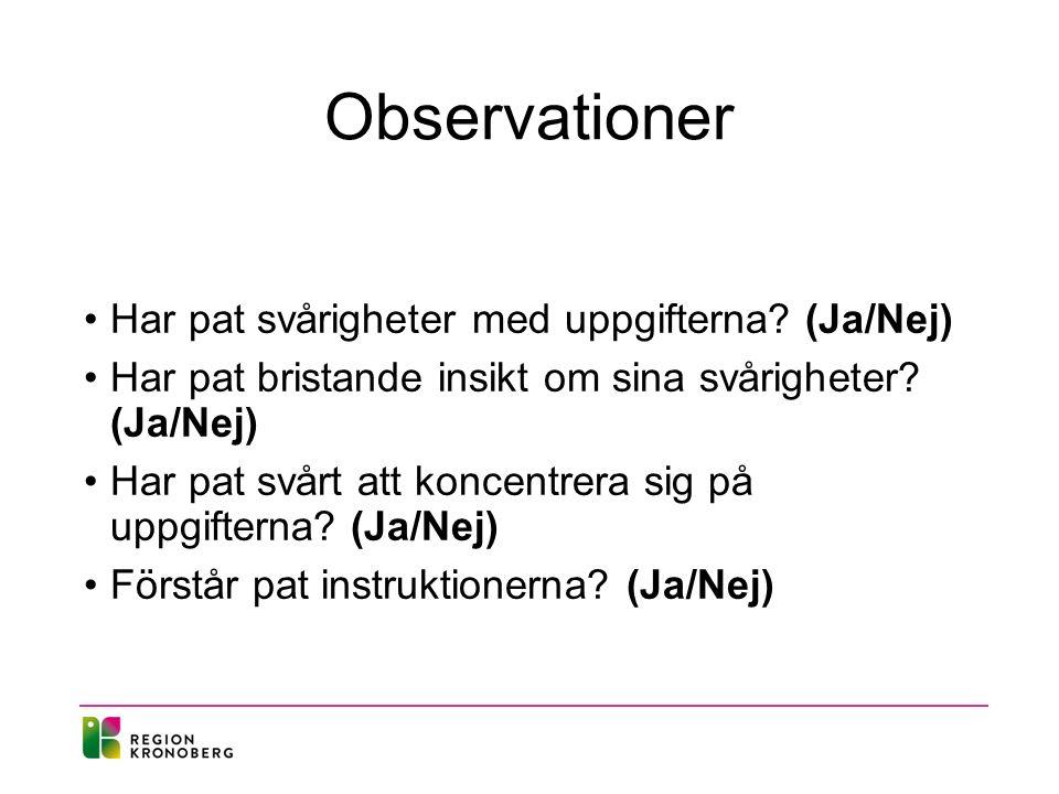 Observationer Har pat svårigheter med uppgifterna.