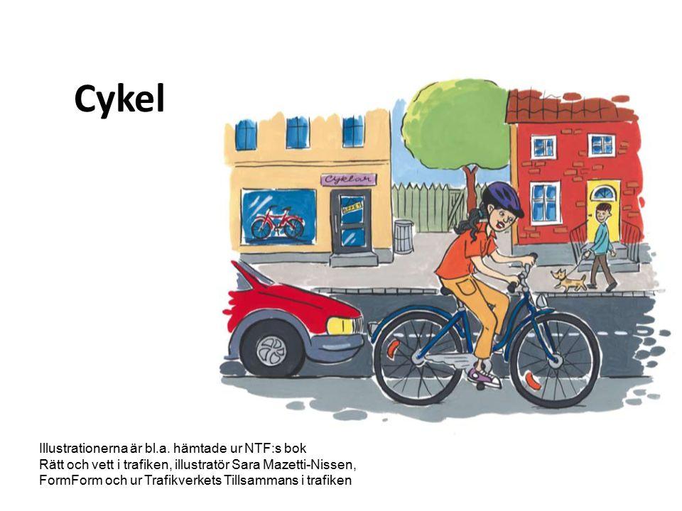 Att cykla Bra Motion Frisk luft Skadar inte miljön Lätt att ta sig fram Billigare än bil och buss Mindre bra Oskyddad Risk att skadas i olyckor Huvudskador Regn, snö, halka, grus
