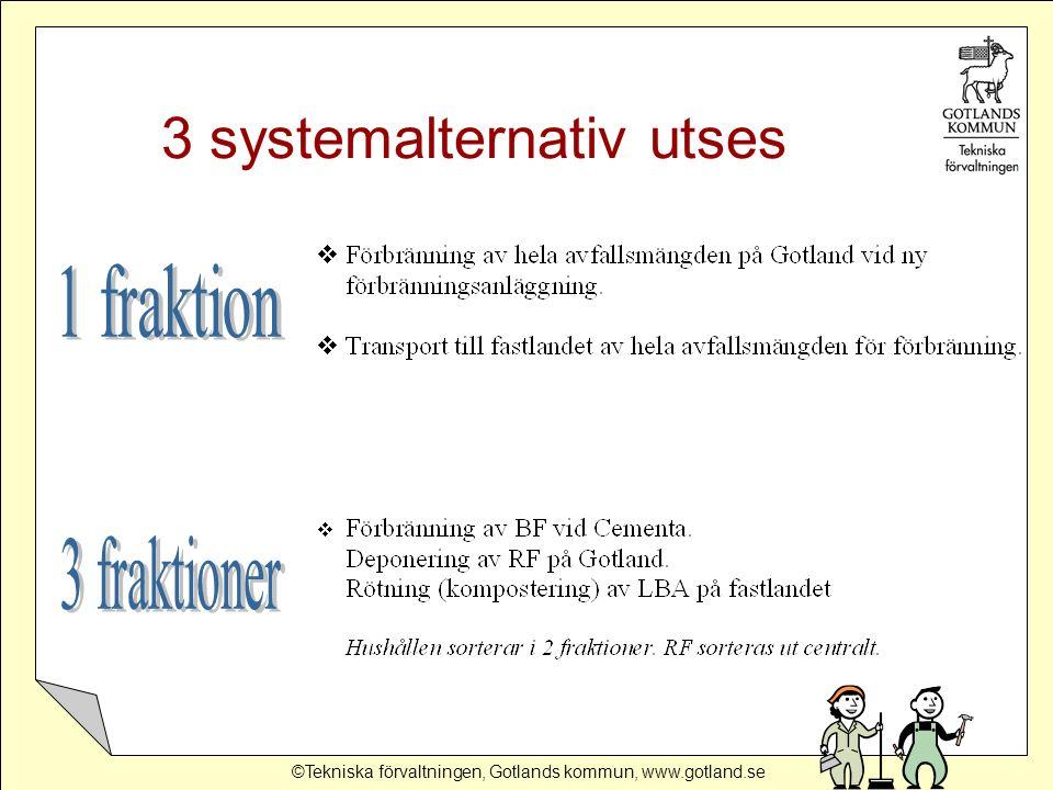 ©Tekniska förvaltningen, Gotlands kommun, www.gotland.se 3 systemalternativ utses