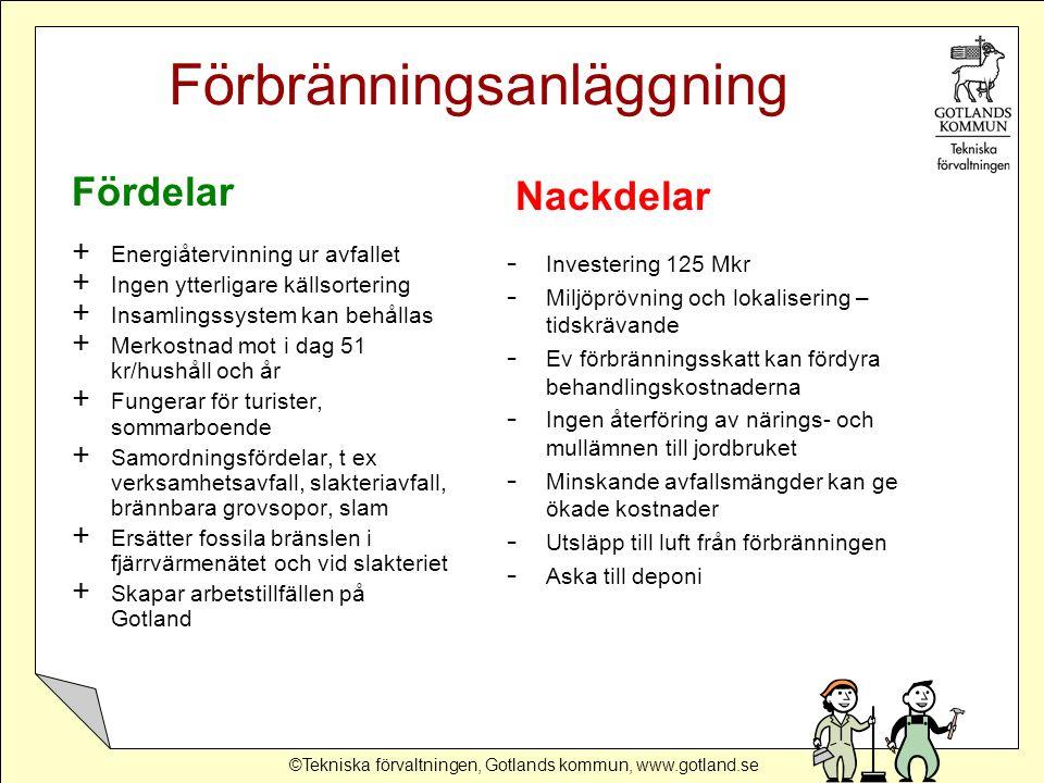©Tekniska förvaltningen, Gotlands kommun, www.gotland.se Förbränningsanläggning Fördelar + Energiåtervinning ur avfallet + Ingen ytterligare källsortering + Insamlingssystem kan behållas + Merkostnad mot i dag 51 kr/hushåll och år + Fungerar för turister, sommarboende + Samordningsfördelar, t ex verksamhetsavfall, slakteriavfall, brännbara grovsopor, slam + Ersätter fossila bränslen i fjärrvärmenätet och vid slakteriet + Skapar arbetstillfällen på Gotland - Investering 125 Mkr - Miljöprövning och lokalisering – tidskrävande - Ev förbränningsskatt kan fördyra behandlingskostnaderna - Ingen återföring av närings- och mullämnen till jordbruket - Minskande avfallsmängder kan ge ökade kostnader - Utsläpp till luft från förbränningen - Aska till deponi Nackdelar