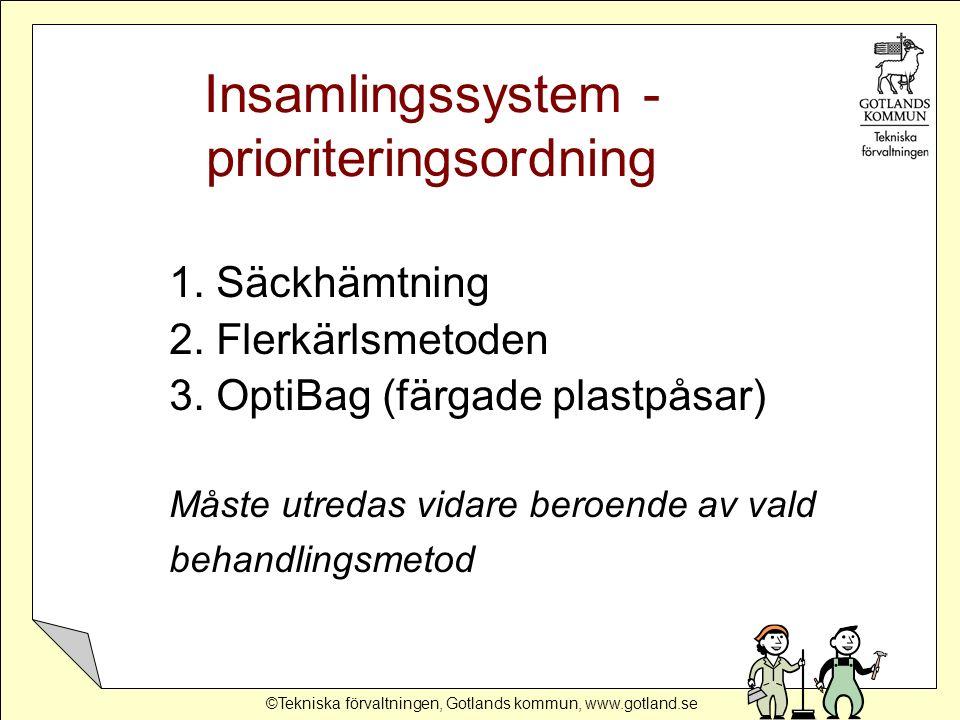 ©Tekniska förvaltningen, Gotlands kommun, www.gotland.se Insamlingssystem - prioriteringsordning 1.