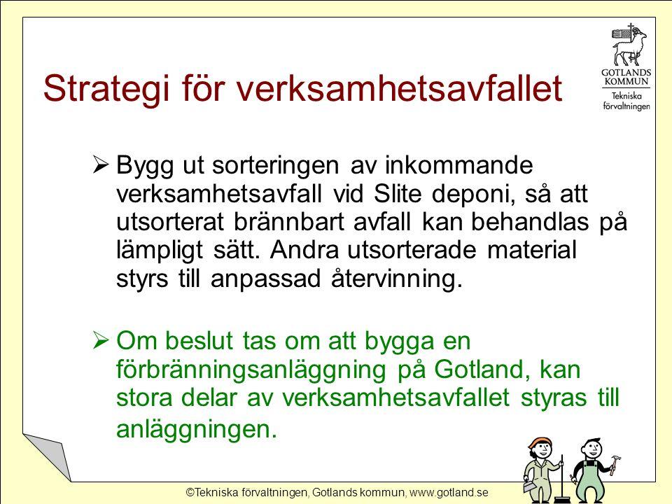 ©Tekniska förvaltningen, Gotlands kommun, www.gotland.se Strategi för verksamhetsavfallet  Bygg ut sorteringen av inkommande verksamhetsavfall vid Sl