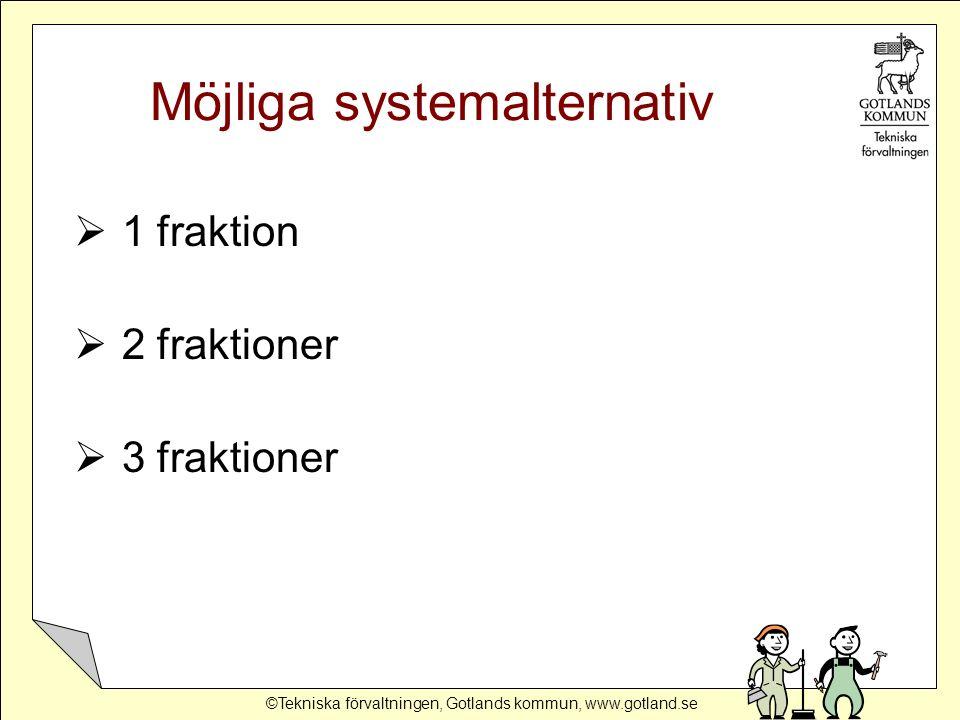 ©Tekniska förvaltningen, Gotlands kommun, www.gotland.se Utvärdering systemalternativ 1.Förbränna allt på Gotland 2.Deponera allt på Gotland 3.Transportera allt till fastlandet 1 fraktion __________________