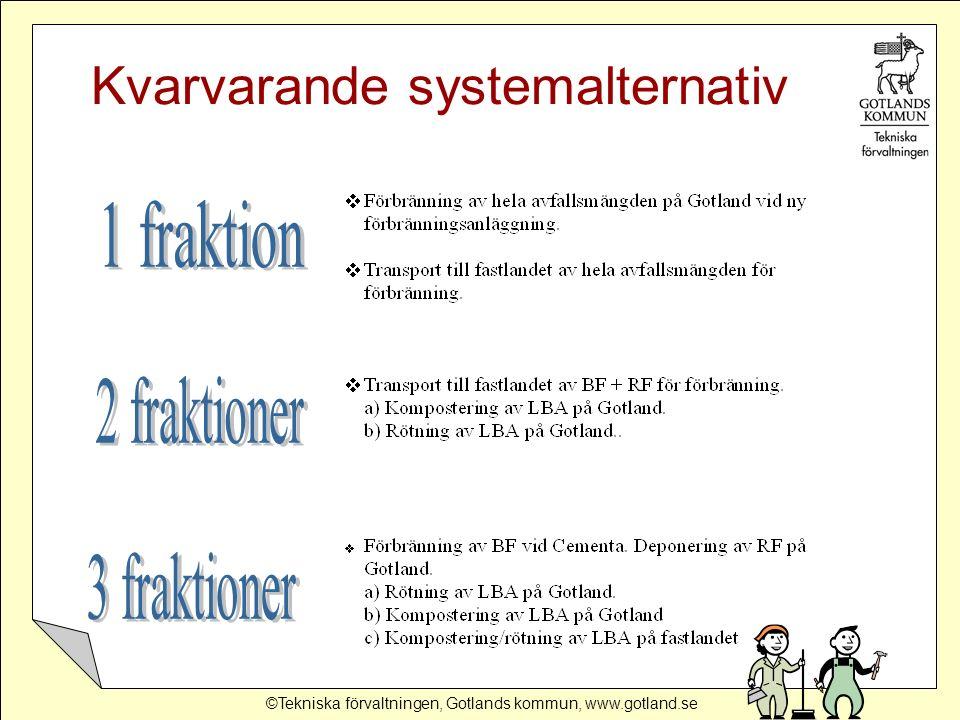 ©Tekniska förvaltningen, Gotlands kommun, www.gotland.se Strategi för verksamhetsavfallet  Bygg ut sorteringen av inkommande verksamhetsavfall vid Slite deponi, så att utsorterat brännbart avfall kan behandlas på lämpligt sätt.