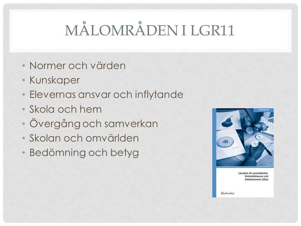 MÅLOMRÅDEN I LGR11 Normer och värden Kunskaper Elevernas ansvar och inflytande Skola och hem Övergång och samverkan Skolan och omvärlden Bedömning och