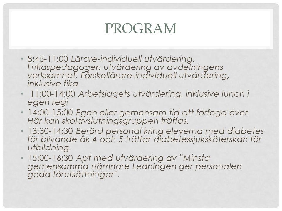 PROGRAM 8:45-11:00 Lärare-individuell utvärdering, Fritidspedagoger: utvärdering av avdelningens verksamhet, Förskollärare-individuell utvärdering, in
