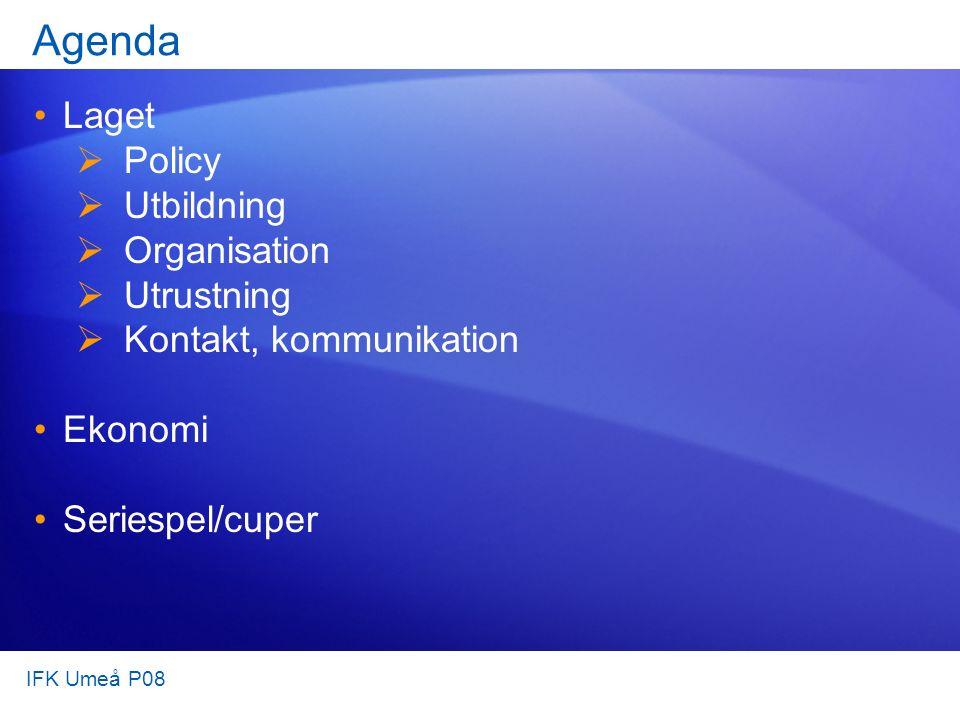 Agenda Laget  Policy  Utbildning  Organisation  Utrustning  Kontakt, kommunikation Ekonomi Seriespel/cuper IFK Umeå P08