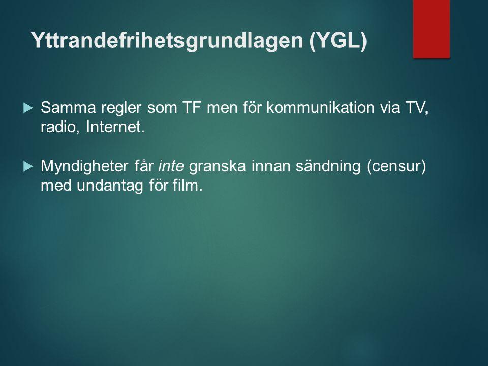 Yttrandefrihetsgrundlagen (YGL)  Samma regler som TF men för kommunikation via TV, radio, Internet.